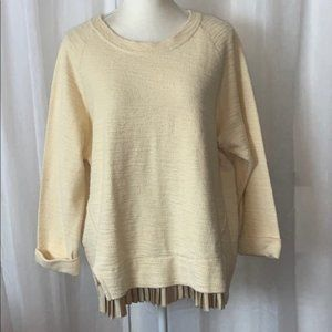Anthropologie Pull Over Sweater Pleated Hem Top S